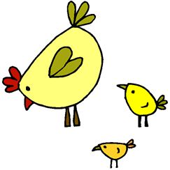 pictures of chickens cartoons | cartoon drawing of mother hen with two baby chicks