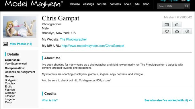 Model Mayhem Introduces Verified Credits to Weed out Creepy Photographers Read more at http://www.thephoblographer.com/2015/11/11/model-mayhem-introduces-verified-credits-to-weed-out-creepy-photographers/#6e5iJeoQDFEkMEsL.99