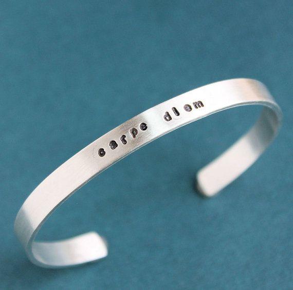 Carpe Diem Mens Cuff Bracelet  Sterling Silver