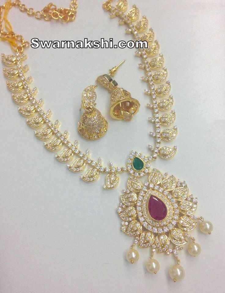 cz stones long necklace set  Inbox us or whatsapp to 09581193795 to buy online  Or visit our showroom at LIG block no 11, F. No 9, 3rd Phase, KPHB, Kukatpally, Hyderabad  For more collections visit http://swarnakshi.com/product-category/necklace/long-necklace/