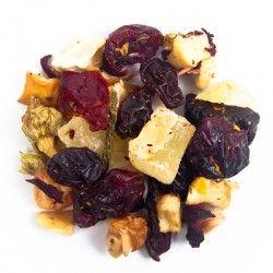 Serena Pasión - Mezcla de la casa. Ingredientes: Cereza, arándano, piña, manzana, uva, jamaica, escaramujo y flor de calabacín. Perfecto para preparar caliente o frío.
