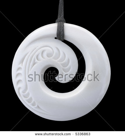 stock photo : Modern Maori koru design bone pendant -