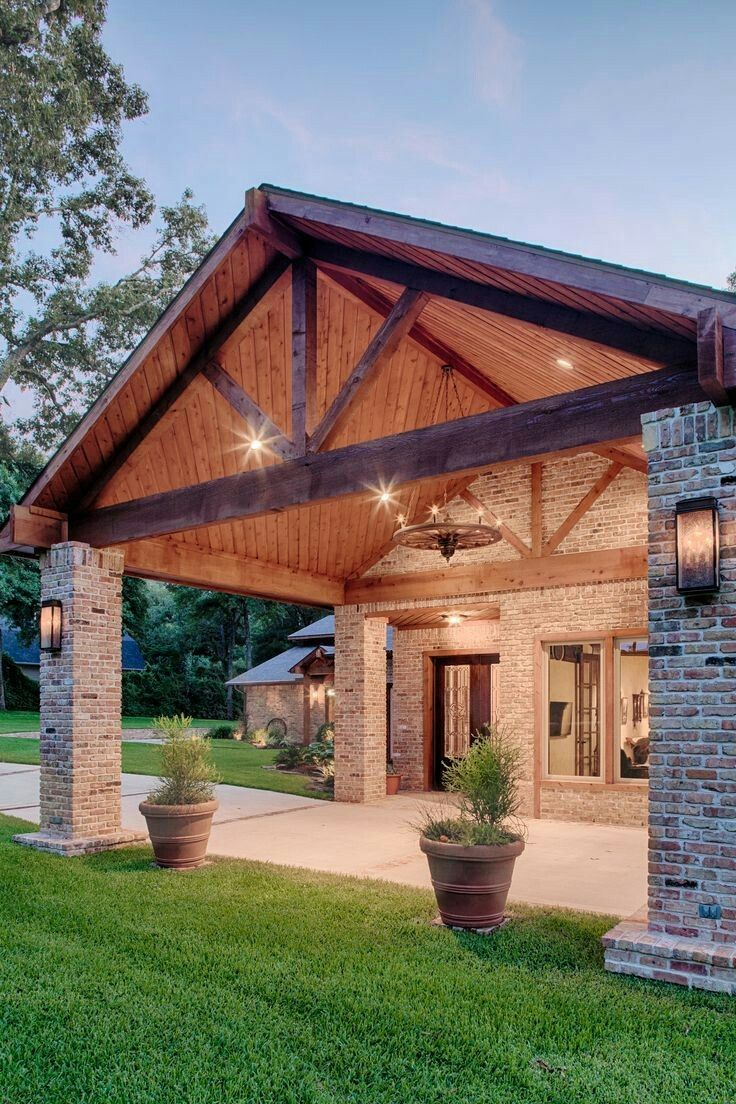 623 best images about patios porches arbors on pinterest for Brick and wood home designs