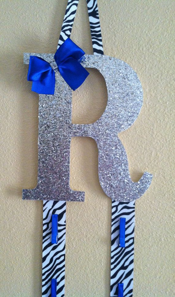 Initial Bow Holder/Cheer by TripleEembroidery on Etsy, $20.00   letter T