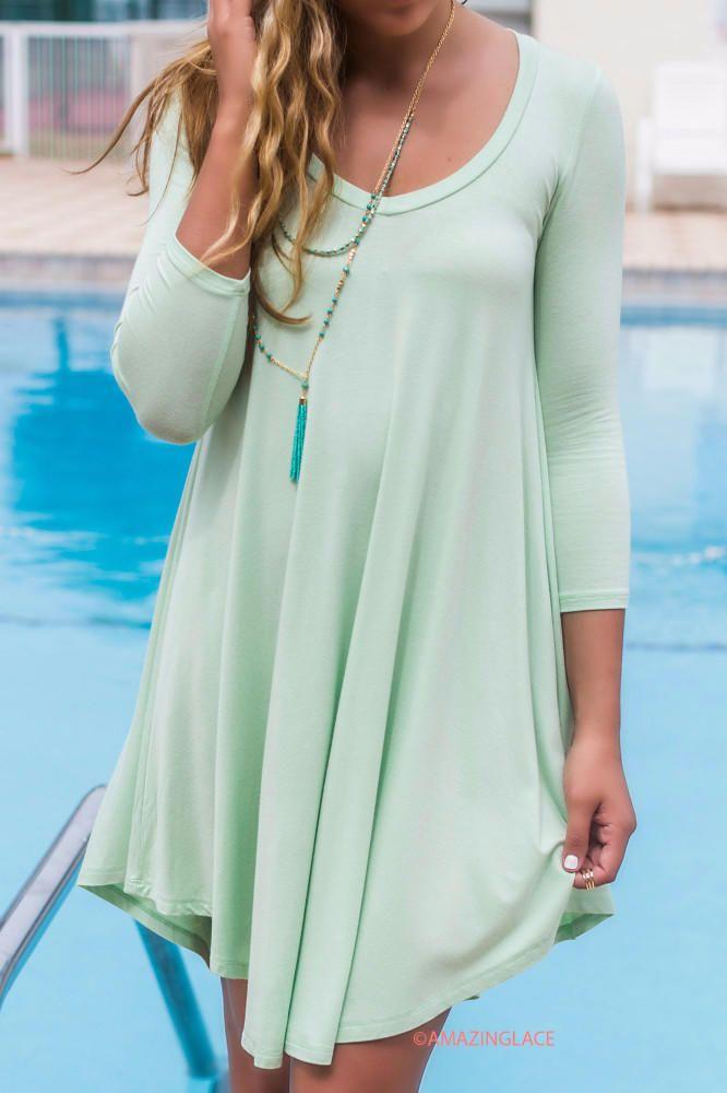 Follow Your Heart Sage V-Neck Long Sleeve Dress