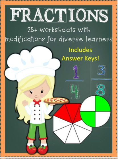 fraction bundle, complete unit, fraction booklet, identifying fractions,  comparing fractions, roll a fraction, naming fractions, problem solving, and assessment.