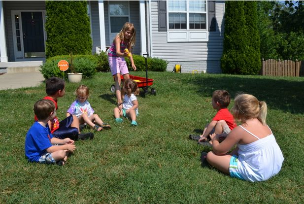 """Transform """"Duck, duck goose"""" into """"Drip, drip, drench"""" by tagging players with a soaked sponge. 