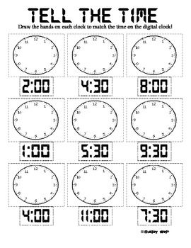 Great practice for telling time to the hour and half hour. Aligns with Common Core 1st grade Standard:1.MD.3. Tell and write time in hours and half-hours using analog and digital clocks.Enjoy!