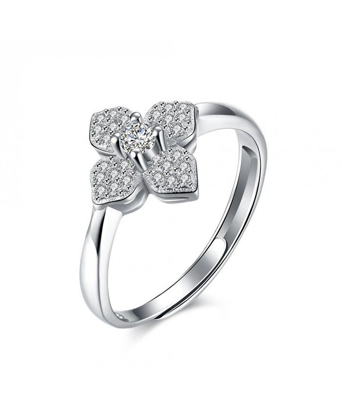 925 Sterling Silver White Cubic Zirconia Four Petals Engagement Ring