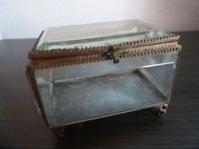 ANTIQUE VICTORIAN FRENCH BRONZE & GLASS BOX BEVEL FOR JEWERLY.....