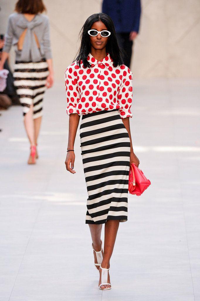 mixing prints: polka dots and stripes Burberry Prorsum Spring 2014