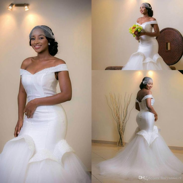 2017 New Arabic African Mermaid Wedding Dresses Off Shoulder Crystal Beaded Sweep Train Tulle Corset Back Plus Size Formal Bridal Dress Lace Wedding Dress Mermaid Wedding Dress 2017 Wedding Dress Online with 190.29/Piece on Haiyan4419's Store | DHgate.com