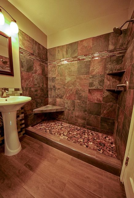 10 ideas about rustic bathroom shower on pinterest for Cabin shower tile ideas