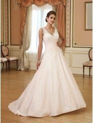 Taffeta Sweetheart Bodice Back V-Neckline A-line Wedding Dress