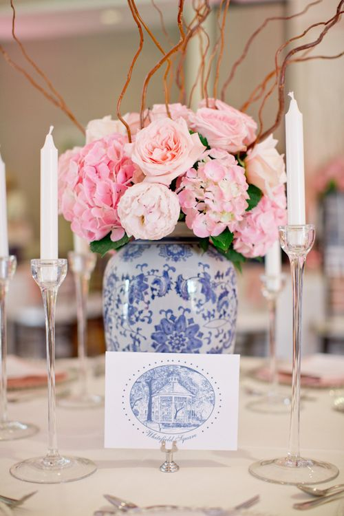 Soft pink and blue centerpiece for southern wedding at the