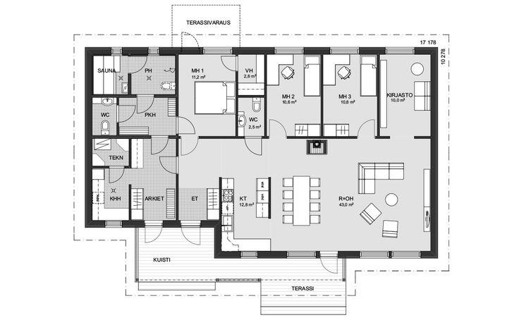 Tilava yksikerroksinen koti, jossa monia arkea helpottavia ratkaisuja. Katetulta kuistilta on kulku tavallisen eteisen lisäksi arkieteiseen, jossa on runsaasti säilytystilaa. Kaikki kolme makuuhuonetta ja kirjasto – joka muuntuu tarpeen vaatiessa vaikkapa vierashuoneeksi – on sijoitettu talon toiselle seinustalle. Isoimmassa makuuhuoneessa on oma vaatehuone ja tilasta on lisäksi mahdollisuus tehdä uloskäynti takapihan terassille. Pesuhuoneen vieressä on... Read more »