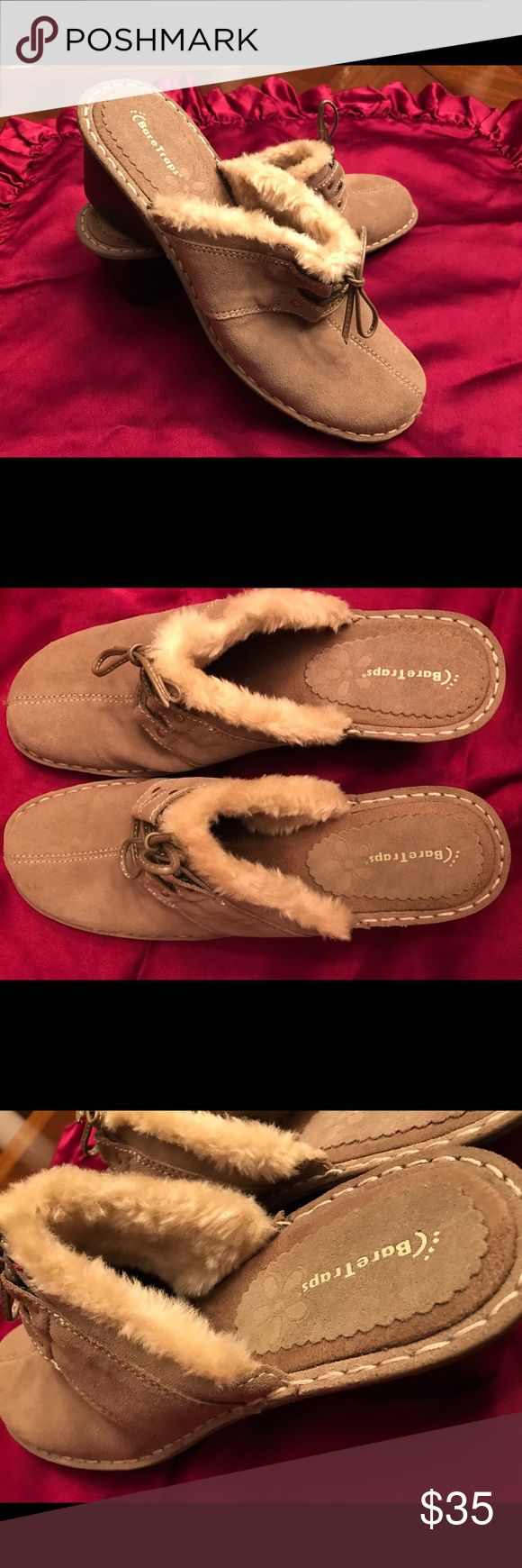 BARE TRAPS CLOGS/size10 Classic Bare Trap women's clogs/decoy faux fur trim/leather upper. Clogs are new with tags/never used and have been properly closet stored. Excellent condition/clean and smoke free. BARE TRAPS Shoes Mules & Clogs