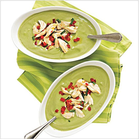 Avocado-Buttermilk Soup with Crab Salad ...looks interesting...