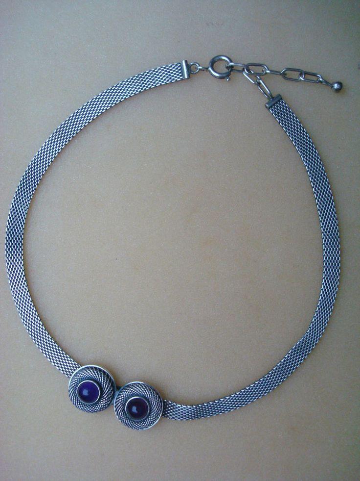 Klassisches Collier 835 Silber Amethyst Kropfkette Tracht Kette Art Nachlass