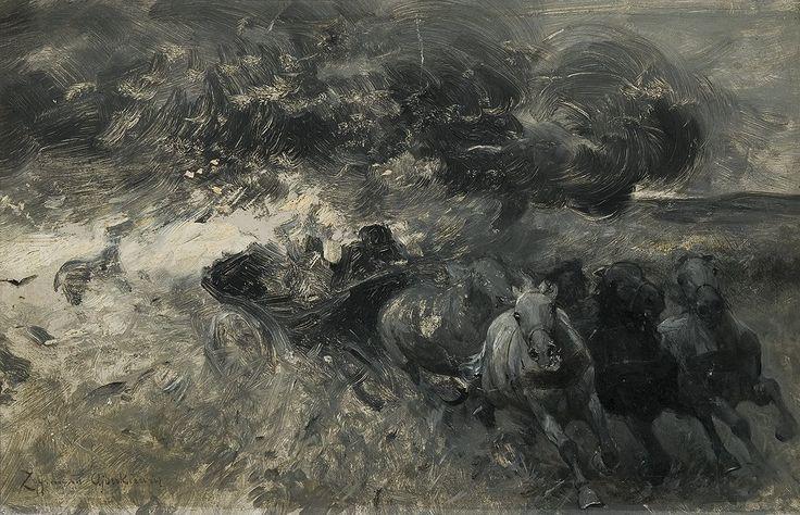 """Zygmunt Ajdukiewicz (1861 - 1917)      """"Ucieczka przed burzą"""""""