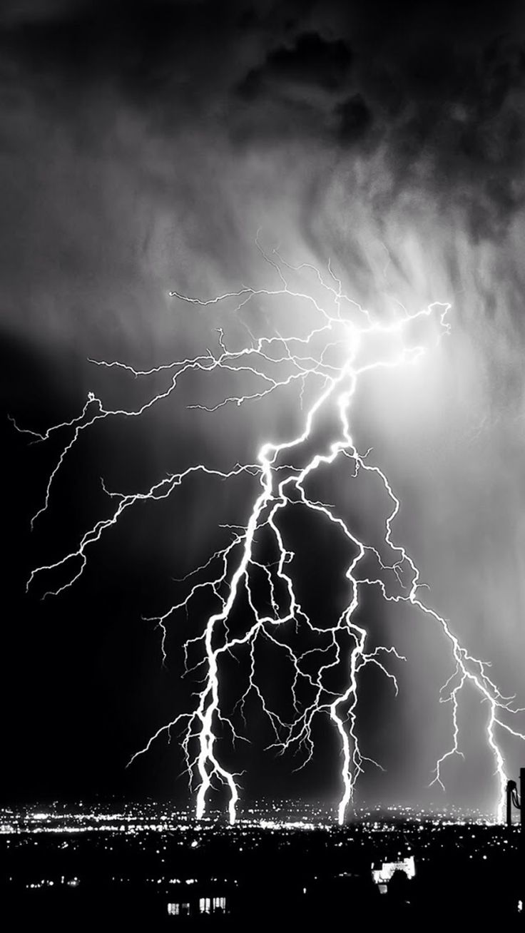 Storm Lightening Over City iPhone 8 Wallpapers Black and