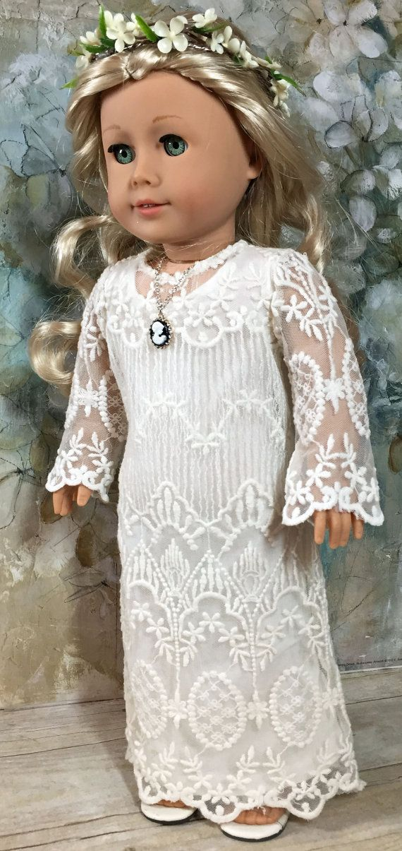 18 Inch Doll Clothes American Girl  Fair Maiden Lace Dress and Floral Wreath Headband