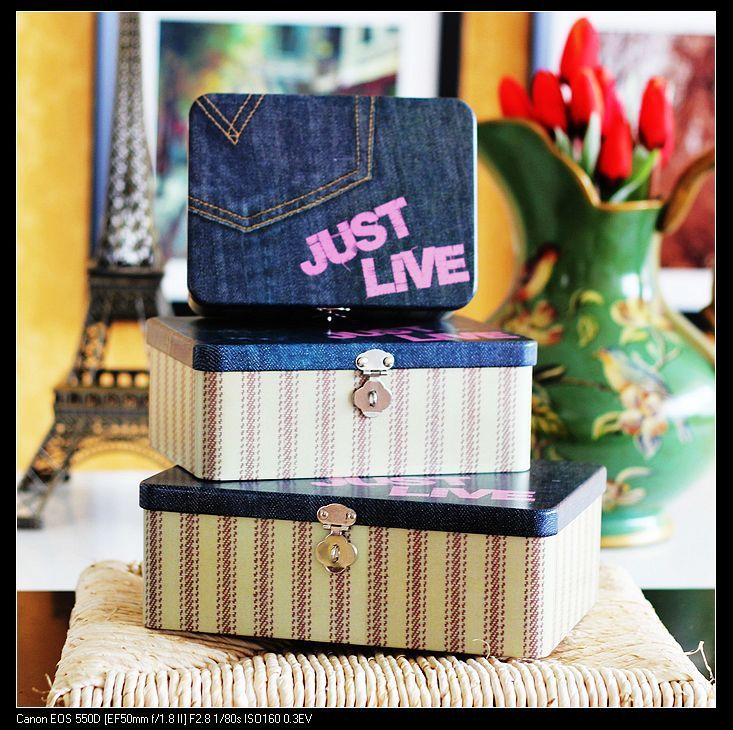 ==> [Free Shipping] Buy Best Zakka Jeans Pattern Candy Cookie Makeup Metal Storage Box Tin Organizer Home Decoration Accessories 1set Online with LOWEST Price | 32303523422