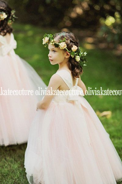 Gorgeous Blush Flower Girl Dress Floor Length by OliviaKateCouture