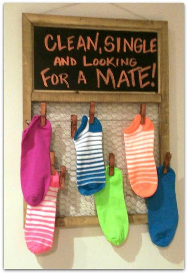 Have a little fun with mismatched socks instead of just throwing them in a bucket on top of the dryer!