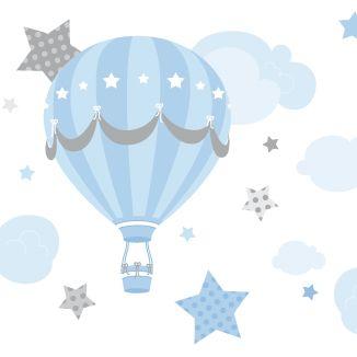 Bordüre Heißluftballons blau/grau, selbstklebend