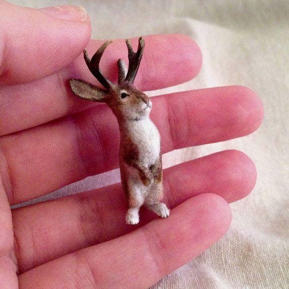 Dollhouse miniature standing Jackalope by Weazilla on Etsy