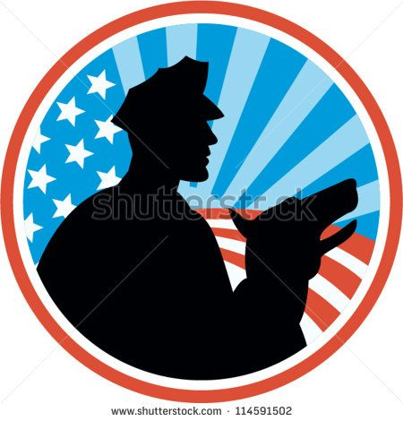 Illustration of a policeman security guard with police dog with American stars and stripes set inside circle done in retro style. #police #laborday #silhouette #illustration