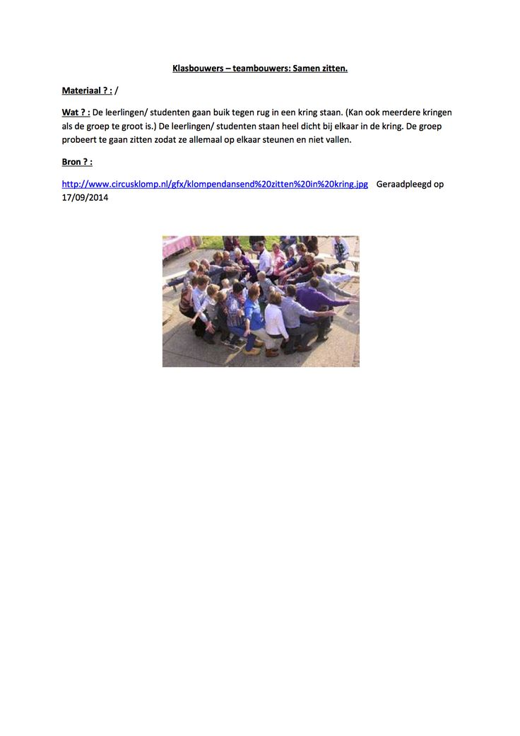 Klasbouwers – teambouwers: Samen zitten