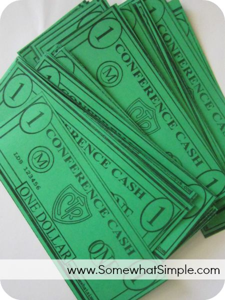 general conference activity- Conference Cash, love this idea!