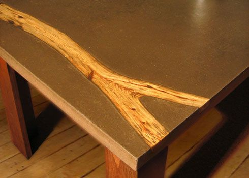 Concrete And Wood Table Top. I Need One Of My Brothers In Law