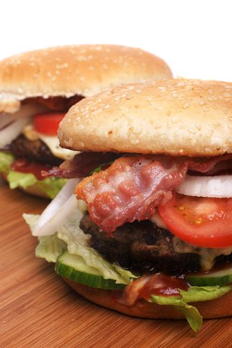 Chipotle-Honey BBQ Bacon Burger with Gorgonzola Cheese