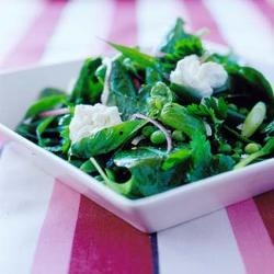 Salad of spinach, peas, mint & goats' curd