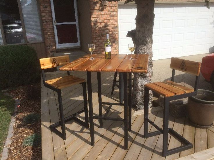 locally built bistro style bar table and two chairs for sale, any style and size custom built to suit cost starts at 595.00 for one table and two chairs. 895.00 for one table and four chairs. this style shown, the table is 40 inches high, the bar stools are 30 inches high. one week delivery. four coats of clear urethane. alberta weather protected. call glen at 403-938 5852 or e