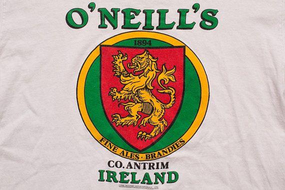 O'Neill's Fine Irish Ales & Brandies T-Shirt, Ireland Crest Logo, Vintage 1980s, Alcoholic Drink, Breweriana, Co. Antrim