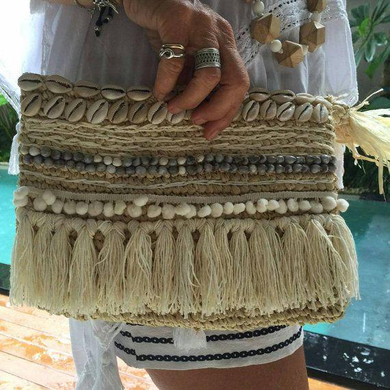 Raffia clutch with tassel and shell trims raffia by EllennJames