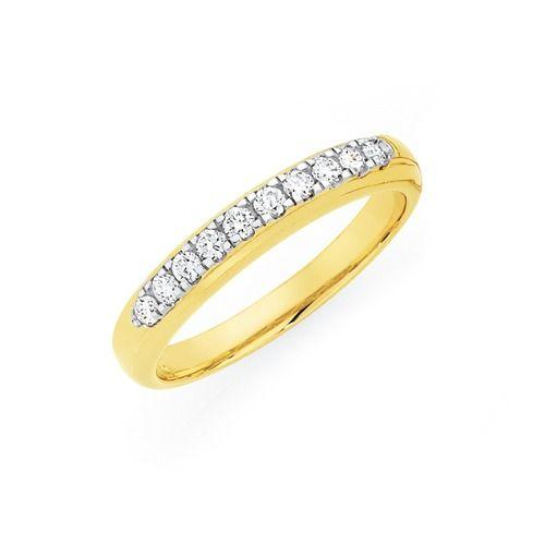 9ct Gold Diamond Round Brilliant Band Total Diamond Weight = 0.25ct