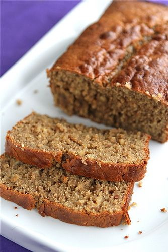 Peanut Butter & Banana Whole Wheat Quick Bread... perfect for the bananas I have that are getting too brown