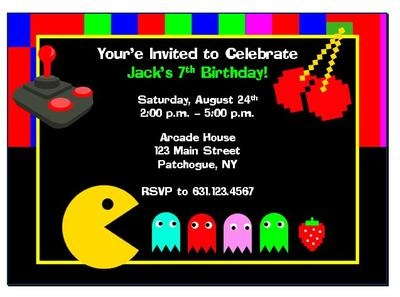 35 best Wallys 9th Birthday Game Track Pac Man Party images on – Arcade Party Invitations