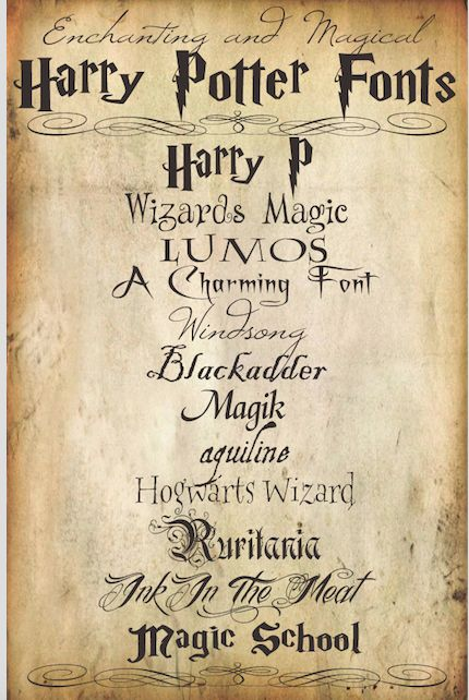 Harry Potter Party Ideas - You can use these Harry Potter Fonts for lots of different projects but if your'e having a Harry Potter Themed Party, they will be great to make party invitations, food labels or place labels.