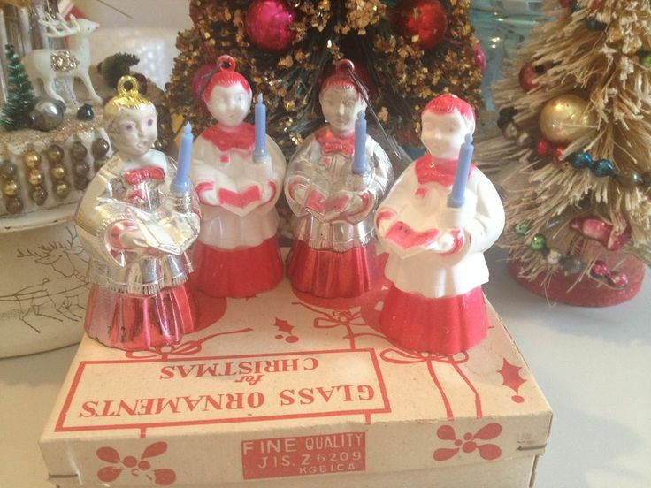Four Bradford Plastic Styrene Choir Boy Tree Ornaments