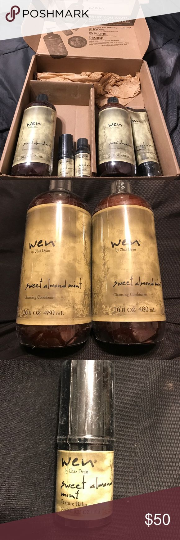 Partial Wen Hair Care set Includes: (2) 16oz Cleansing Conditioner-doubles as shampoo (1) .35oz Texture Balm (1) .14oz Volumizing Root Lifter (1) 4oz Anti Frizz Cream. All sweet almond mint scent and all brand new, unopened Wen by Chaz Dean Other