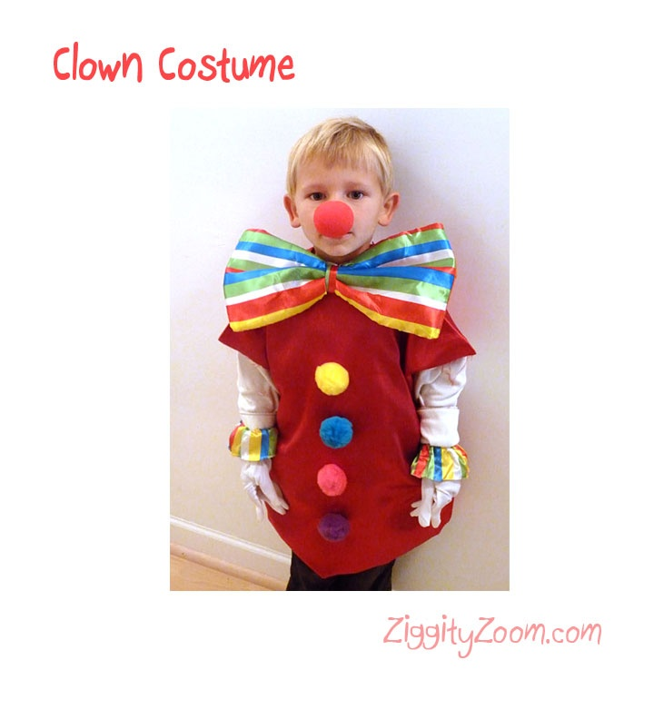 Super adorable Kids Halloween Clown Costume- no sew DIY costume.