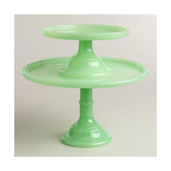 Cost Plus World Market Jade Colored Glass Pedestal Stand (£21) ❤ liked on Polyvore featuring home, kitchen & dining, serveware, pedestal stand, pedestal plate, cost plus world market, colored glass cake stand and serving pedestal