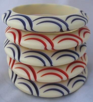 Vintage Carved French Bakelite ivory Galalith 5 bracelet Lot