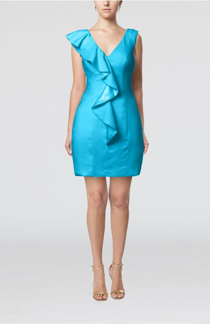 Turquoise Guest Dress - Plain Sheath V-neck Mini Ruffles Wedding